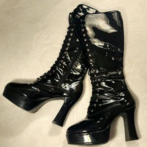 Patent Platform Knee High Boots